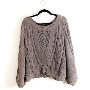 Express Taupe Chunky Knit Sweater